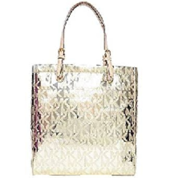 Michael Kors Handbags - Michael Kors Jet Set Mirrored Gold Large Tote
